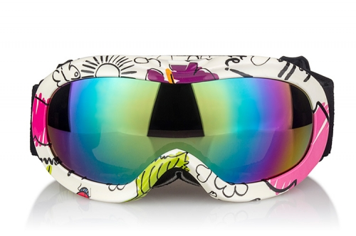 Good wholesale price junior childrens ski goggles with water transfer printing frame