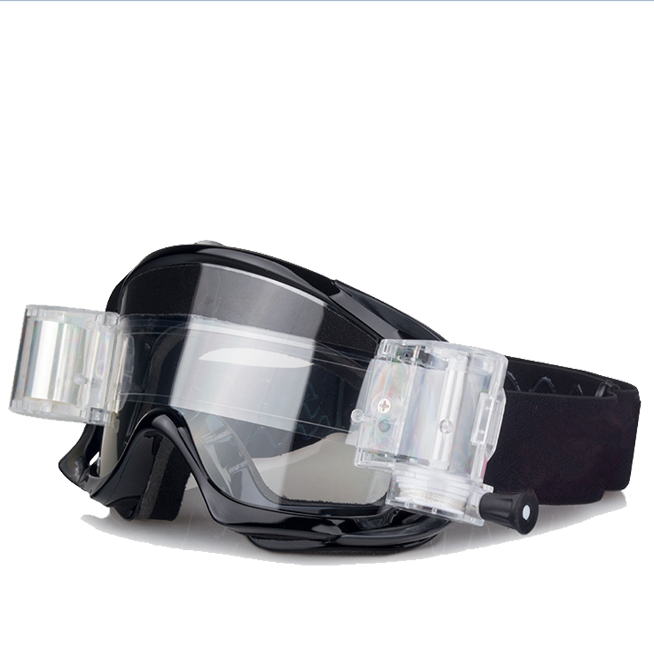 New style clear lens roll off goggles with custom straps