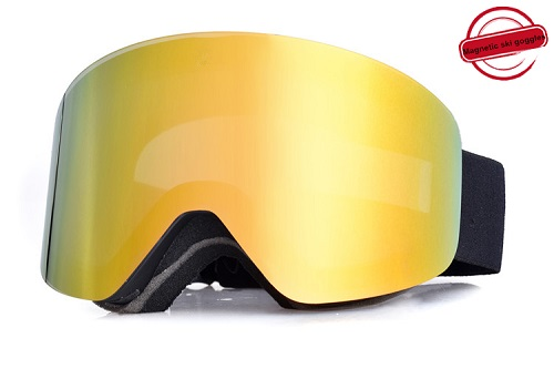 New style magnetic price cheap snow goggles with anti fog REVO lens