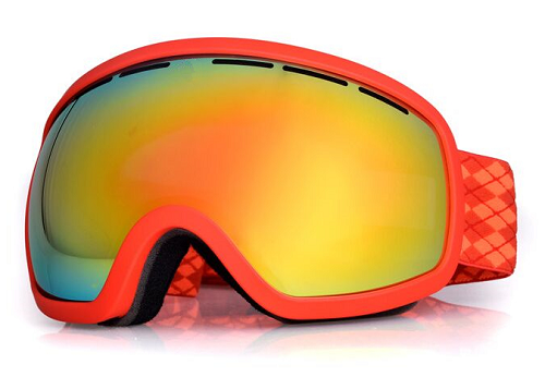 Wholesale red ski and snowboard goggles with orange straps