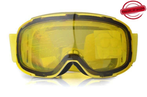 New style magnetic yellow lens ski goggles with factory price