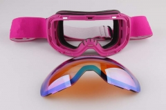 Factory price frame pink ski goggles with CE approved