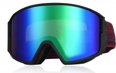 Wholesale CE certification ski goggles that fit over glasses function and blue mirrored ski goggles